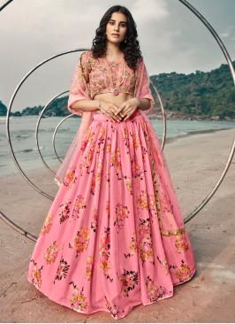 Tantalizing Pink Sequins Organza Lehenga Choli