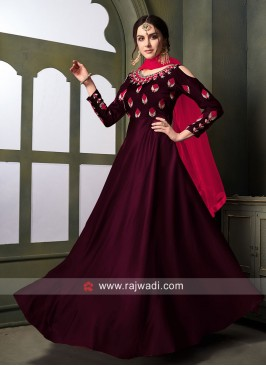 Tapeta Satin Silk Semi Stitched Anarkali Suit