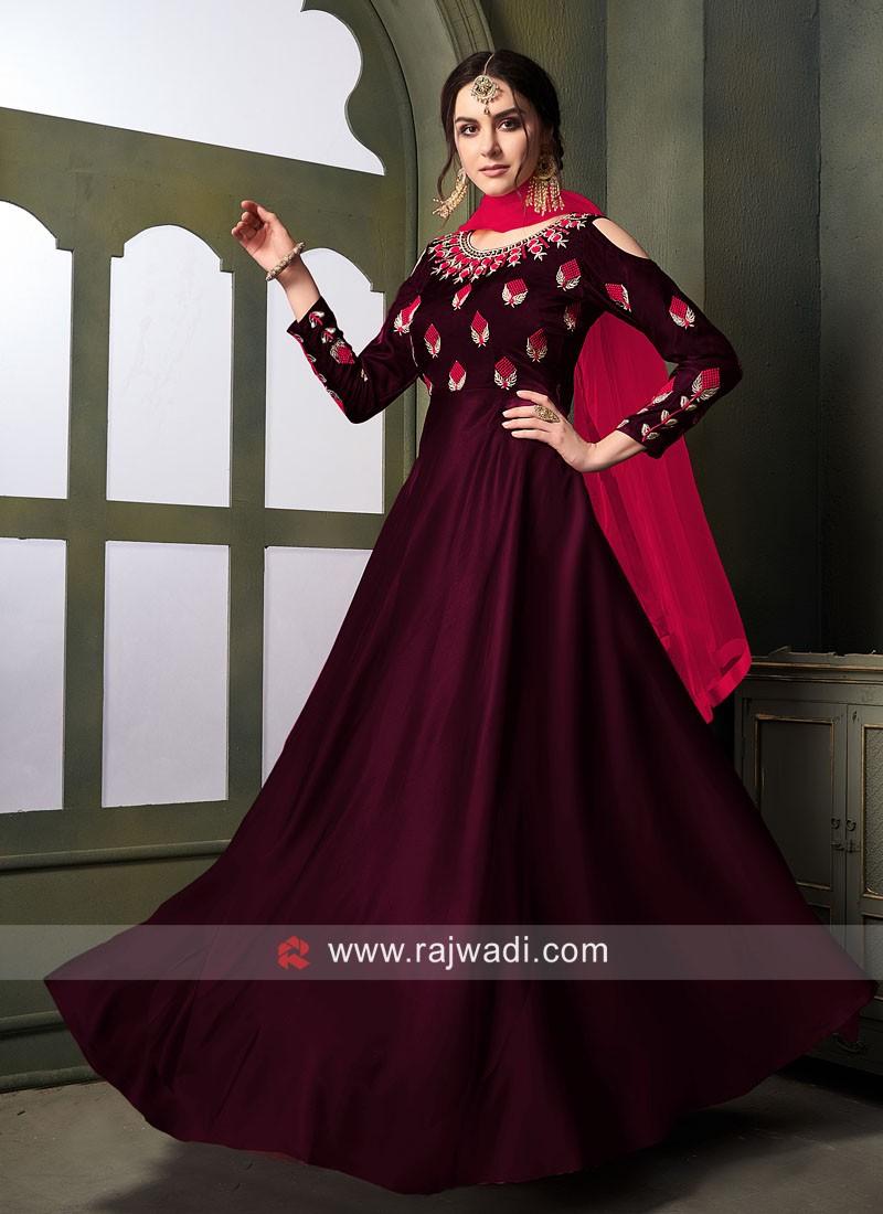 Tapeta Satin Silk Semi Stitched Anarkali Suit