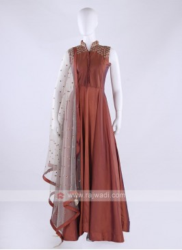 Tapeta silk anarkali suit in coral color