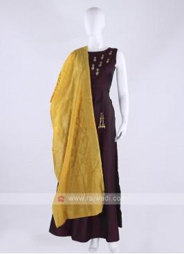 Tapeta silk anarkali suit in dark magenta