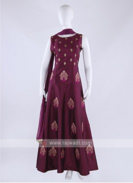 Tapeta silk anarkali suit in magenta color