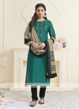Shagufta Teal & Black Color Churidar Salwar Suit
