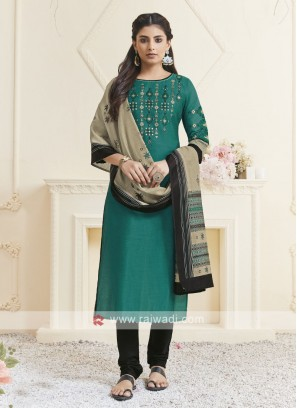 Teal & Black Color Churidar Suit