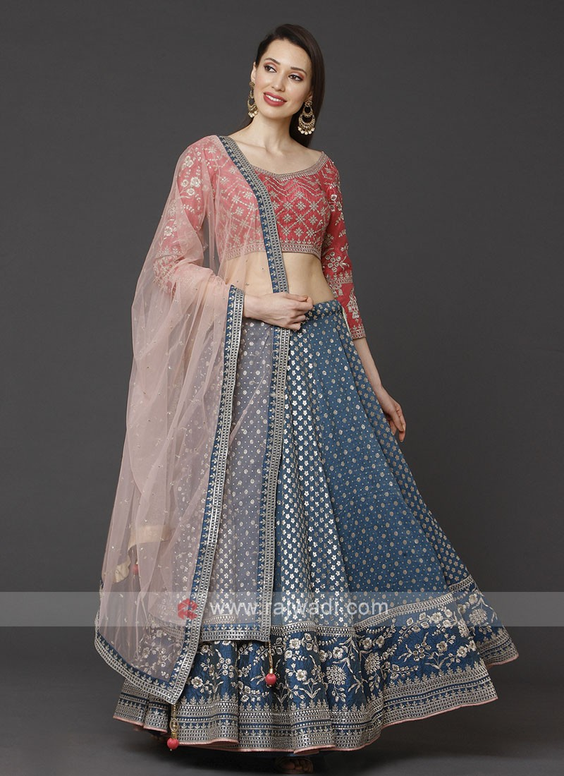 Teal Blue And Red Choli Suit