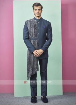 Teal Blue Color Jodhpuri Suit