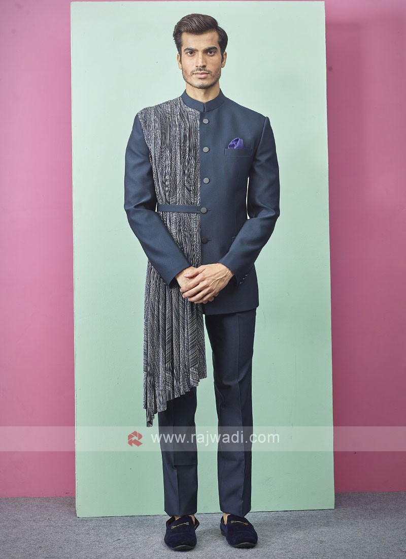 Teal Blue Color Jodhpuri Suit