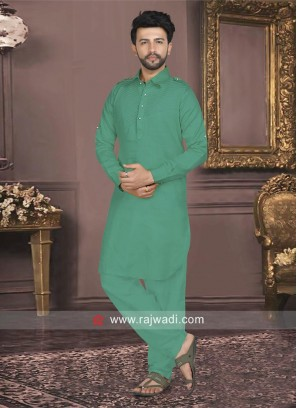 Teal Color Cotton Silk Pathani Set