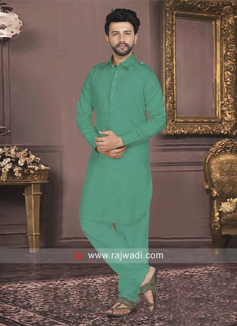 Teal Color Cotton Silk Pathani Set