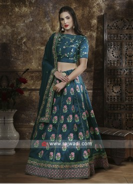 Teal Color Flower Work Lehenga Choli