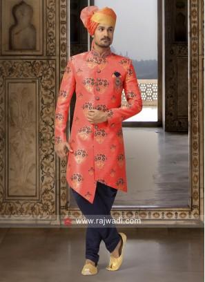 Peach Color Brocade Silk Fabric Indo Western