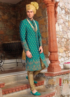 Teal Colored Silk Fabric Sherwani