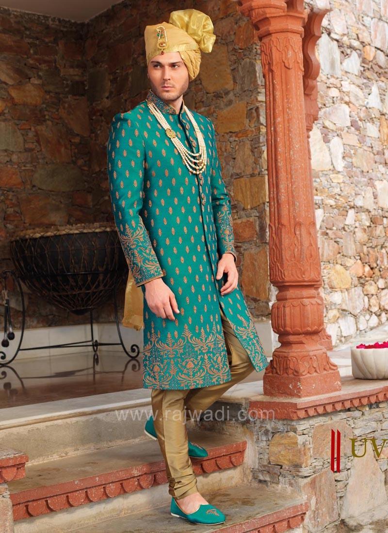 Teal Colored Silk Fabric Sherwani