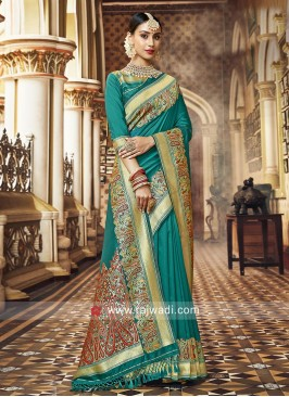 Teal Saree with Golden Border