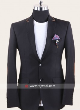 Terry Rayon Black Blazer For Wedding