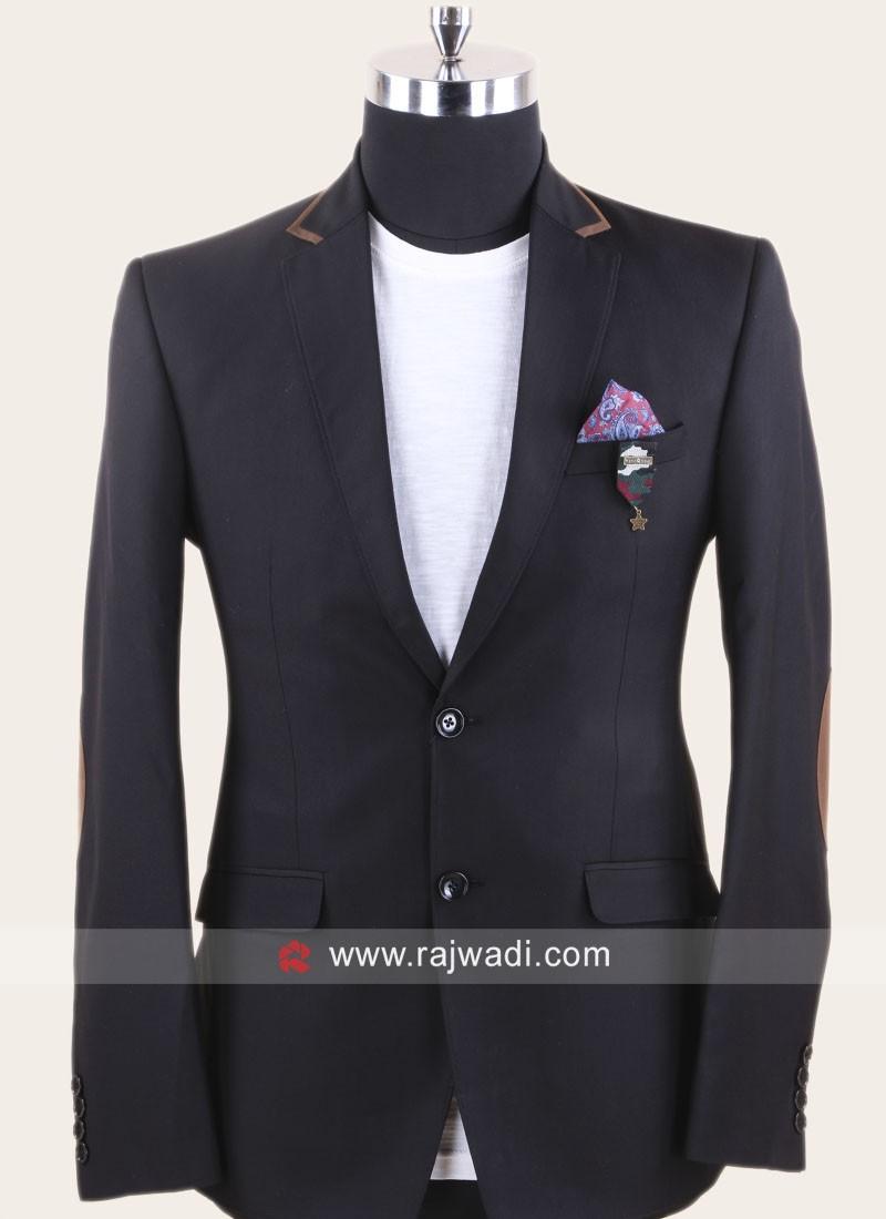 Terry Rayon Black Blazer For Wedding