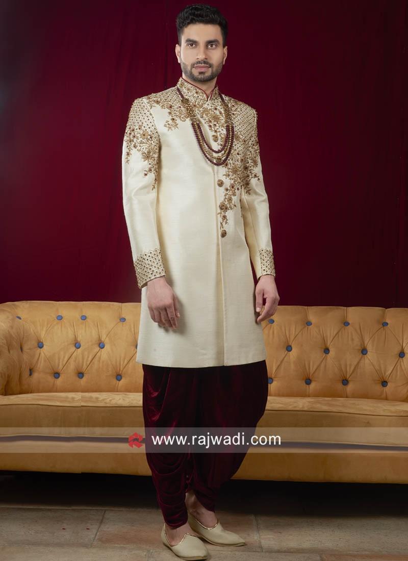 Art Silk Cream Indo Western Sherwani