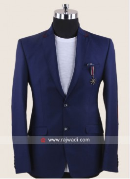 Terry Rayon Blue Blazer For Party