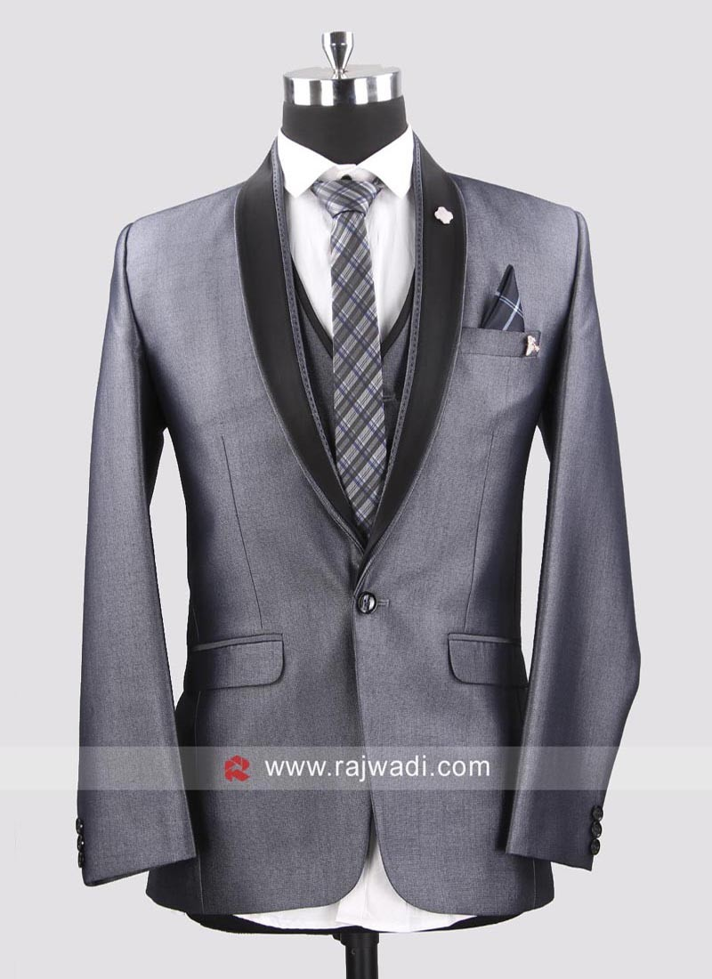 Terry Rayon Grey Color Suit For Mens