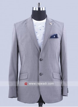 Terry Rayon Slim Fit Blazer In Dark Grey