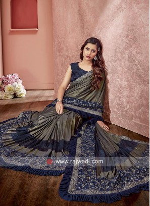 Thick Border Work Saree for Reception
