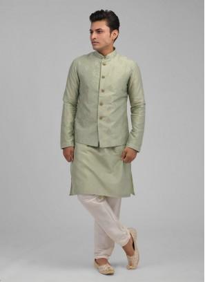 Thread And Zari Work Nehru Jacket Suit