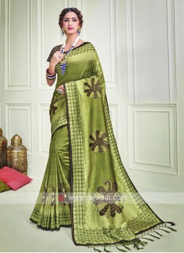 Thread Embroidery Silk Saree