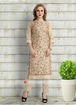 thread work beige color kurta with pants