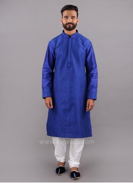 Thread Work Blue Color Kurta Pajama