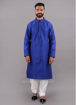 Thread Work Blue Color Kurta Pajama