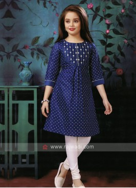 thread work blue color kurti set