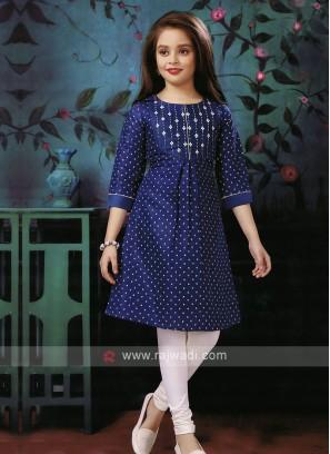 thread work blue color kurti set