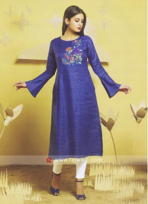 Thread Work Blue Kurti