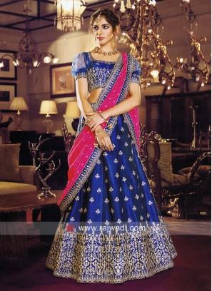 Thread Work Blue Wedding Lehenga