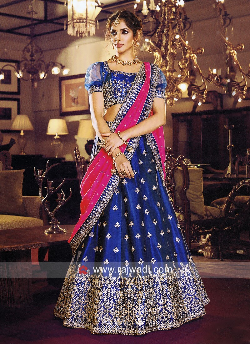 Thread Work Blue Wedding Lehenga