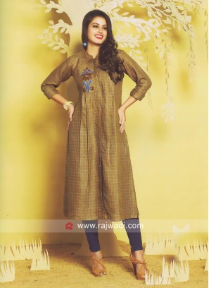 Thread Work Checks Kurti