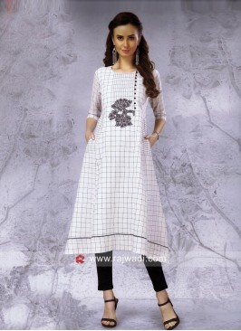 Thread Work Checks Kurti in Off White