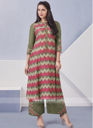 Thread Work Cotton Palazzo Suit
