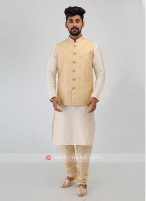 Thread Work Nehru Jacket Set In Cream Color