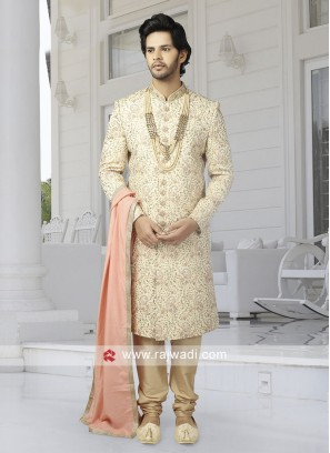 Thread Work Cream Color Sherwani
