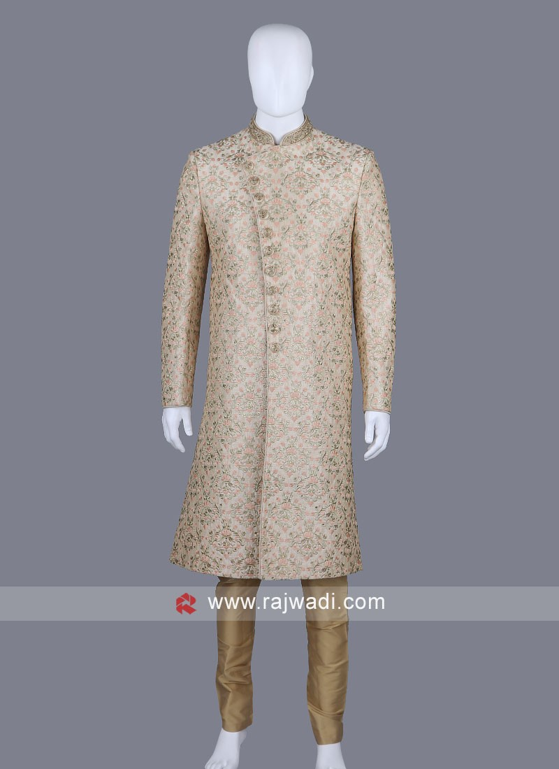 Thread Work Cream Sherwani