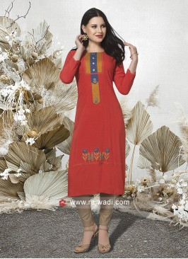 Thread Work Dark Orange Kurti