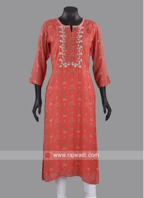 Thread Work Designer Kurti in Peach