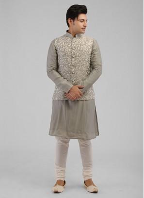 Thread Work Grey Nehru Jacket Suit