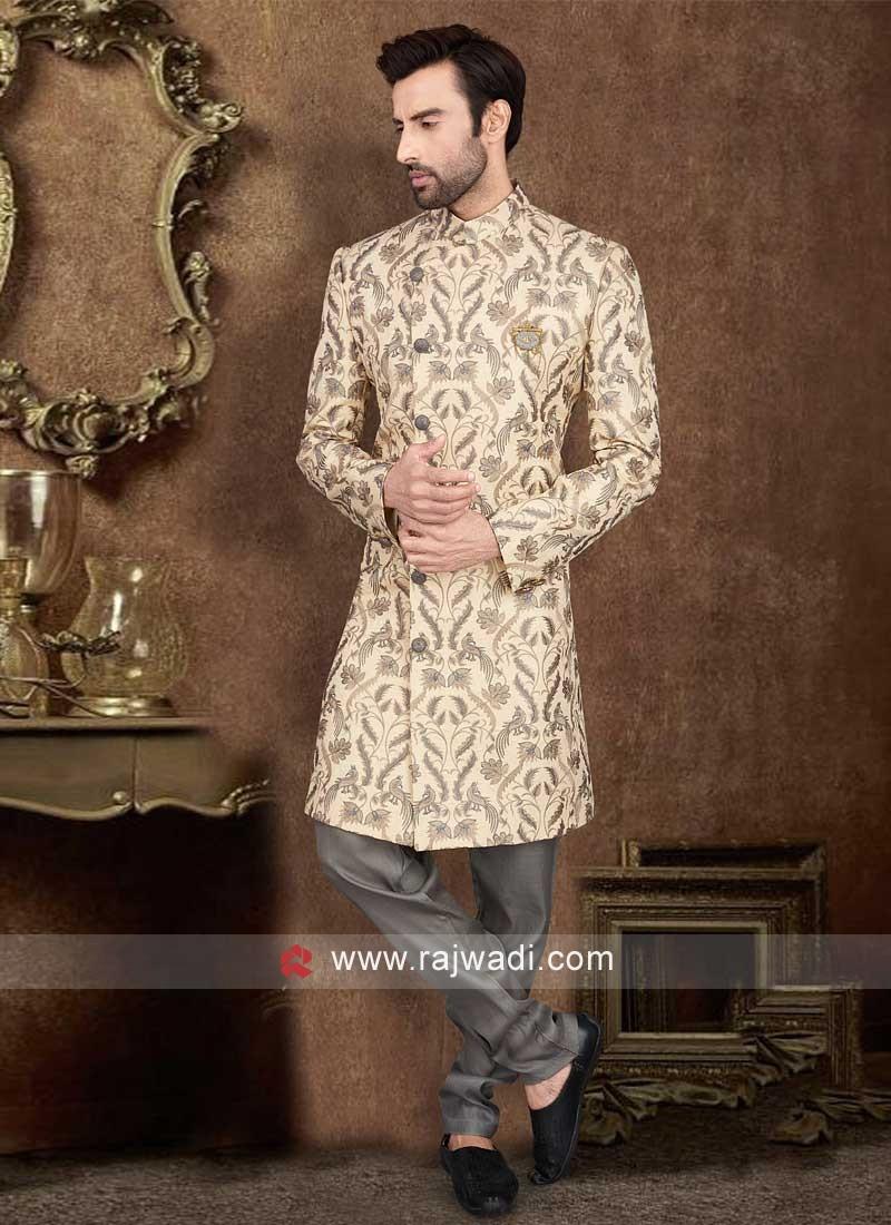 Thread Work Indo-Western In Cream Color