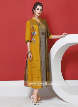 Thread Work Jacket Style Kurti