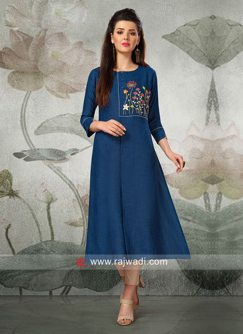 Thread Work Kurti in Blue