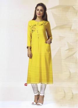 Thread Work Kurti in Mustard Yellow