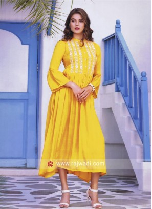 Thread Work Layered Kurti in Golden Yellow