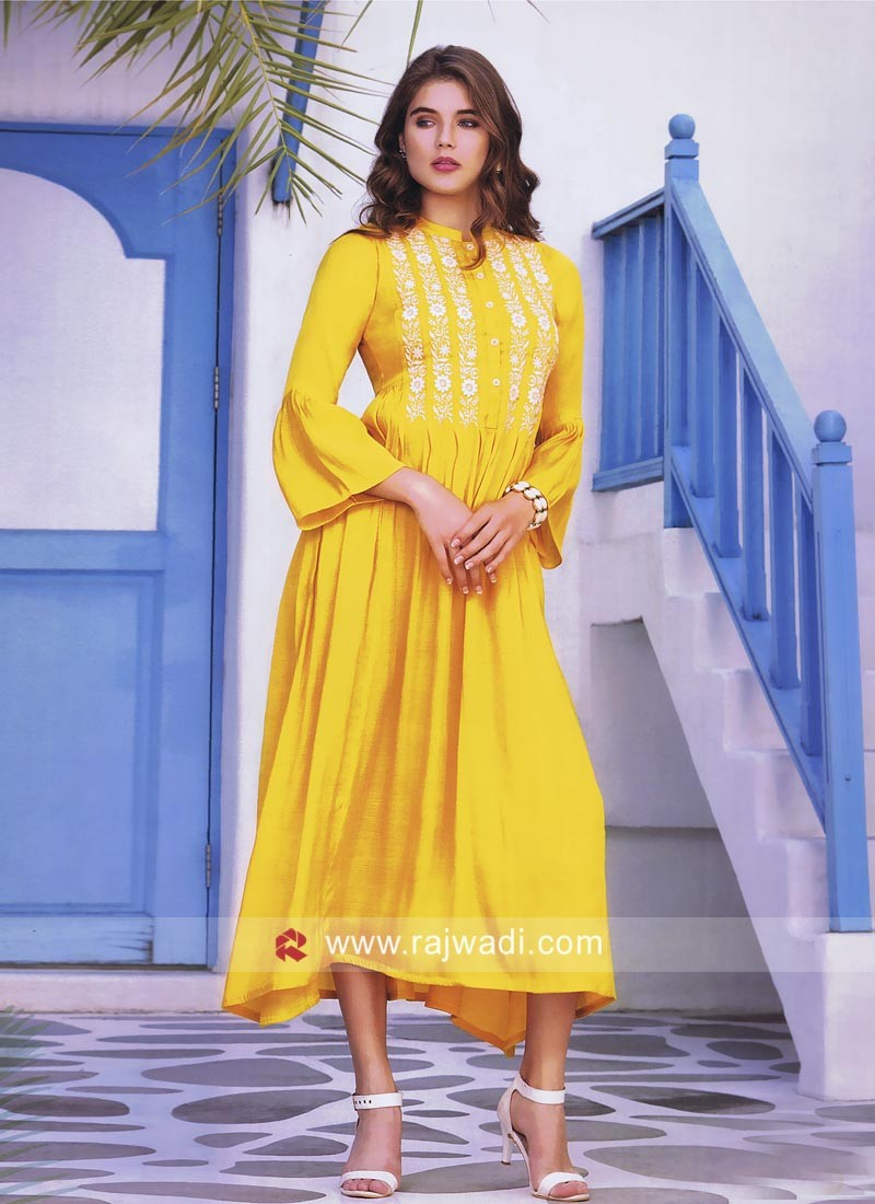 Thread Work Layered Kurti in Golden Yellow